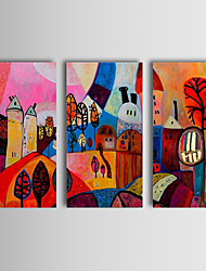 cheap -Hand-painted Abstract Oil Painting Enjoy Village Happy Life Abstract Art Three Panels Stretched Canvas