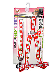 cheap -Embroidery Strawberry Pattern Harness with Leash for Pets Dogs (Assorted Sizes)