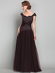 cheap -A-Line Mother of the Bride Dress Sparkle & Shine Straps Floor Length Tulle Sleeveless with Criss Cross Beading Appliques 2021