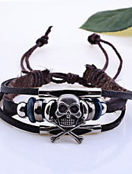 cheap -Women's Charm Bracelet Leather Bracelet woven Skull Pirates Halloween Leather Bracelet Jewelry Brown For Christmas Gifts Wedding