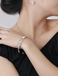 cheap -Women's Flower Shaped Silver Bracelet