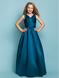 cheap -A-Line / Princess V Neck Floor Length Satin Junior Bridesmaid Dress with Sash / Ribbon / Criss Cross / Spring / Summer / Fall / Apple / Hourglass