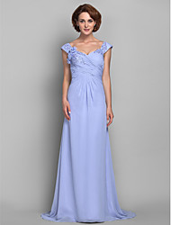 cheap -A-Line Mother of the Bride Dress Floral Straps Sweep / Brush Train Chiffon Sleeveless with Criss Cross Beading Appliques 2021
