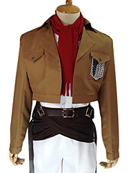 cheap -Inspired by Attack on Titan Mikasa Ackermann Anime Cosplay Costumes Japanese Cosplay Suits Solid Colored Long Sleeve Coat Shirt Pants For Men's Women's / Waist Accessory / Belt / Strap / Badge