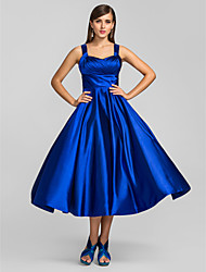 cheap -A-Line Square Neck Tea Length Stretch Satin Elegant / Minimalist Cocktail Party / Wedding Party Dress with Criss Cross 2020