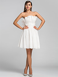 cheap -A-Line Cute Homecoming Wedding Party Dress Strapless Sleeveless Short / Mini Taffeta with Bow(s) Ruched Ruffles 2021