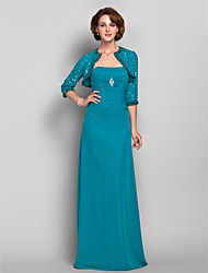 cheap -Sheath / Column Mother of the Bride Dress Wrap Included Strapless Floor Length Chiffon 3/4 Length Sleeve with Ruched Crystal Brooch 2021