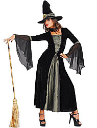 cheap -Witch Cosplay Costume Party Costume Women's Halloween Festival / Holiday Terylene Women's Carnival Costumes Solid Colored / Hat