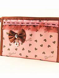 cheap -Briefcase Pattern Make up/Cosmetics Bag with Mirror Pink Loving-heart Bowknot