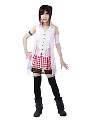 cheap -Inspired by Final Fantasy Serah Farron Video Game Cosplay Costumes Cosplay Suits Plaid Sleeveless Vest Top Skirt Costumes / Chiffon
