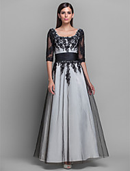 cheap -Ball Gown Elegant Formal Evening Military Ball Dress Scoop Neck Half Sleeve Floor Length Satin with Lace 2020