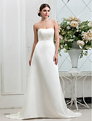 cheap -A-Line Strapless Sweep / Brush Train Satin Strapless Beach Made-To-Measure Wedding Dresses with Button 2020