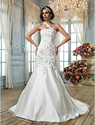 cheap -Mermaid / Trumpet Wedding Dresses One Shoulder Court Train Tulle Sleeveless with Beading Appliques Flower 2021