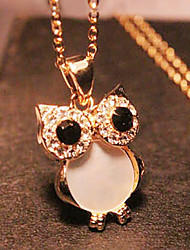 cheap -Women's Pendant Necklace Long Necklace Owl Ladies Vintage European Fashion Rhinestone Shell Alloy Golden Necklace Jewelry For Party Gift Daily Casual