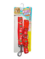cheap -Embroidery Christmas Deer Pattern Collar with Leash for Pets Dogs (Assorted Sizes)