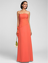 cheap -Sheath / Column Strapless Floor Length Chiffon Bridesmaid Dress with Side Draping / Ruched / Flower by LAN TING BRIDE®