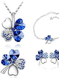 cheap -Women's Crystal Jewelry Set Stud Earrings Bracelet Clover Ladies Unique Design Basic Fashion Elegant Bridal Crystal Rhinestone Platinum Plated Earrings Jewelry Green / Light Blue / Dark Purple For