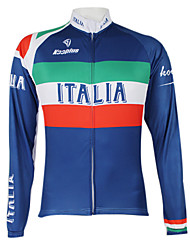 cheap -Malciklo Men's Women's Long Sleeve Cycling Jersey Winter Fleece Polyester Royal Blue+Green Italy Champion National Flag Bike Jersey Top Mountain Bike MTB Road Bike Cycling Windproof Quick Dry