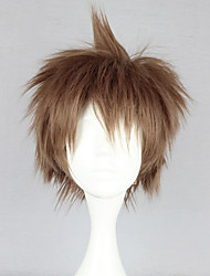 cheap -Cosplay Wigs Dangan Ronpa Cosplay Hajime Hinata Brown Anime / Video Games Cosplay Wigs 12 inch Heat Resistant Fiber Women's Halloween Wigs