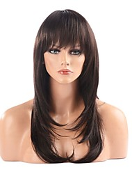 cheap -Synthetic Wig Straight Straight Layered Haircut With Bangs Wig Long Synthetic Hair 22 inch Women's Brown