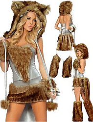 cheap -Wild Woof Brown Hairy Outfit Women's Halloween Costume