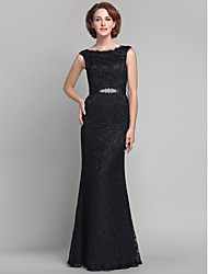 cheap -Sheath / Column Mother of the Bride Dress Vintage Inspired Bateau Neck Floor Length Lace Sleeveless with Lace Beading 2021