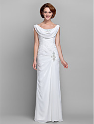 cheap -Sheath / Column Cowl Neck Floor Length Chiffon Sleeveless Vintage Inspired Mother of the Bride Dress with Buttons / Criss Cross / Crystals 2020