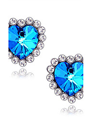 cheap -Women's Synthetic Sapphire Stud Earrings Solitaire Heart Star Love Ladies Luxury Imitation Diamond Earrings Jewelry Blue For Wedding Daily Masquerade Engagement Party Prom Promise