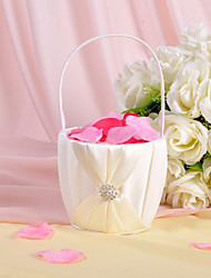 "cheap -Others Flower Basket Wood / Satin 3 1/2"" (9 cm) Acrylic / Rhinestone / Bows / Sash"