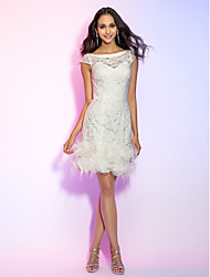 cheap -Sheath / Column Illusion Neck Short / Mini All Over Lace Cute Cocktail Party / Homecoming Dress 2020 with Feathers / Fur