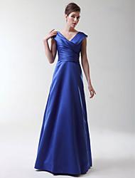 cheap -Princess / A-Line V Neck Floor Length Stretch Satin Bridesmaid Dress with Criss Cross