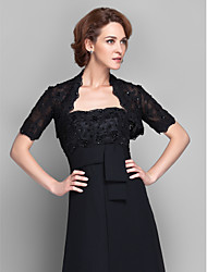 cheap -Short Sleeve Lace Wedding / Party Evening Women's Wrap With Beading / Lace Shrugs