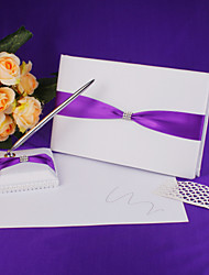 cheap -Guest Book / Pen Set Satin / Polyester With Ribbons Guest Book