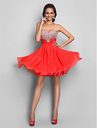 cheap -A-Line Strapless / Sweetheart Neckline Short / Mini Chiffon Cute / Beaded & Sequin Cocktail Party Dress with Beading / Sequin / Crystals 2020