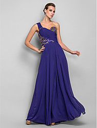 cheap -Sheath / Column Open Back Prom Formal Evening Military Ball Dress One Shoulder Sleeveless Floor Length Chiffon with Beading Embroidery Side Draping 2020