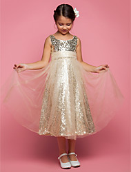 cheap -Princess / A-Line Tea Length Tulle Sleeveless Jewel Neck with Ruched / Sequin