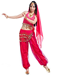 cheap -Belly Dance Outfits Women's Performance Chiffon Coin / Beading / Sequin Sleeveless Top