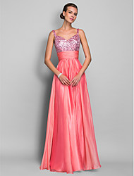 cheap -Sheath / Column Spaghetti Strap Floor Length Chiffon / Sequined Sparkle & Shine / Beaded & Sequin Prom / Formal Evening Dress with Ruched / Sequin 2020