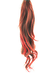 cheap -Lace Clip Red&Black Mixed-color Synthetic Curly Wavy Ponytail