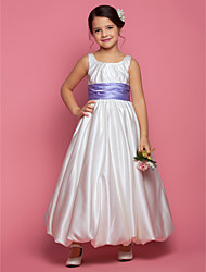 cheap -Princess / A-Line Ankle Length Satin Sleeveless Square Neck with Sash / Ribbon / Ruched / Side Draping