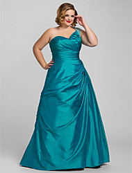 cheap -A-Line One Shoulder Floor Length Taffeta Elegant Prom / Formal Evening Dress with Beading / Side Draping 2020