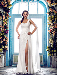 cheap -Sheath / Column One Shoulder Sweep / Brush Train Chiffon Regular Straps Made-To-Measure Wedding Dresses with Beading / Lace Insert 2020