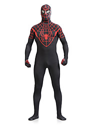 cheap -Zentai Suits Skin Suit Full Body Suit Super Heroes Spider Movie / TV Theme Costumes Adults' Lycra Cosplay Costumes Sex Men's Women's Black Print Patchwork Christmas Halloween Carnival