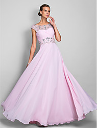 cheap -A-Line Illusion Neck Floor Length Chiffon Empire / Pink Wedding Guest / Formal Evening Dress with Crystals / Beading 2020