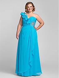 cheap -Sheath / Column Open Back Prom Formal Evening Dress One Shoulder Sleeveless Floor Length Chiffon with Crystals Ruffles 2021