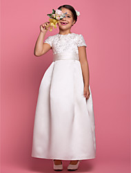 cheap -A-Line Ankle Length Wedding / First Communion Flower Girl Dresses - Satin Short Sleeve Jewel Neck with Lace / Sash / Ribbon / Beading