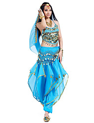 cheap -Belly Dance Outfits Women's Performance Chiffon Beading / Sequin / Coin Sleeveless Top / Pants / Headwear