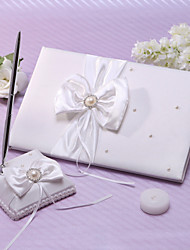 cheap -Guest Book / Pen Set Satin Garden Theme With Faux Pearl / Ribbons