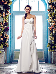 cheap -Sheath / Column Sweetheart Neckline Sweep / Brush Train Chiffon Strapless Beach Open Back Made-To-Measure Wedding Dresses with Beading / Criss-Cross 2020