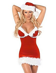 cheap -Cosplay Costume Santa Clothes Women's Christmas Halloween Festival / Holiday Faux Fur Polyester Red Carnival Costumes / Hat